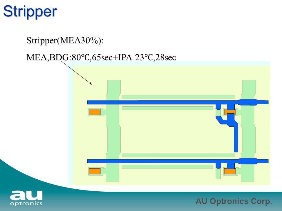 Stripper Stripper(MEA30%): MEA,BDG:80℃,65sec+IPA 23℃,28sec