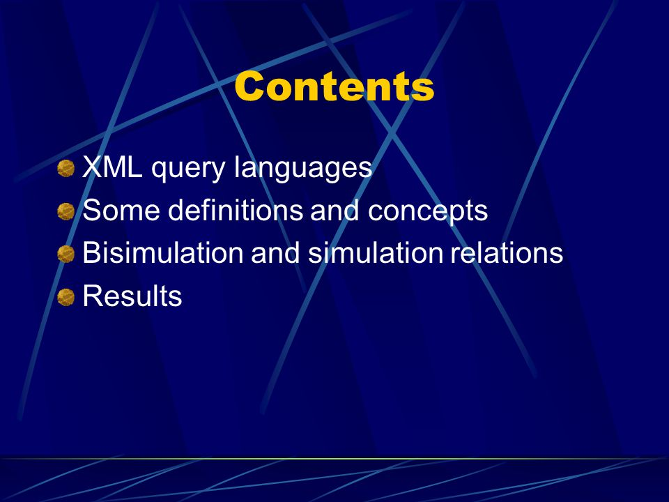 Contents XML query languages Some definitions and concepts