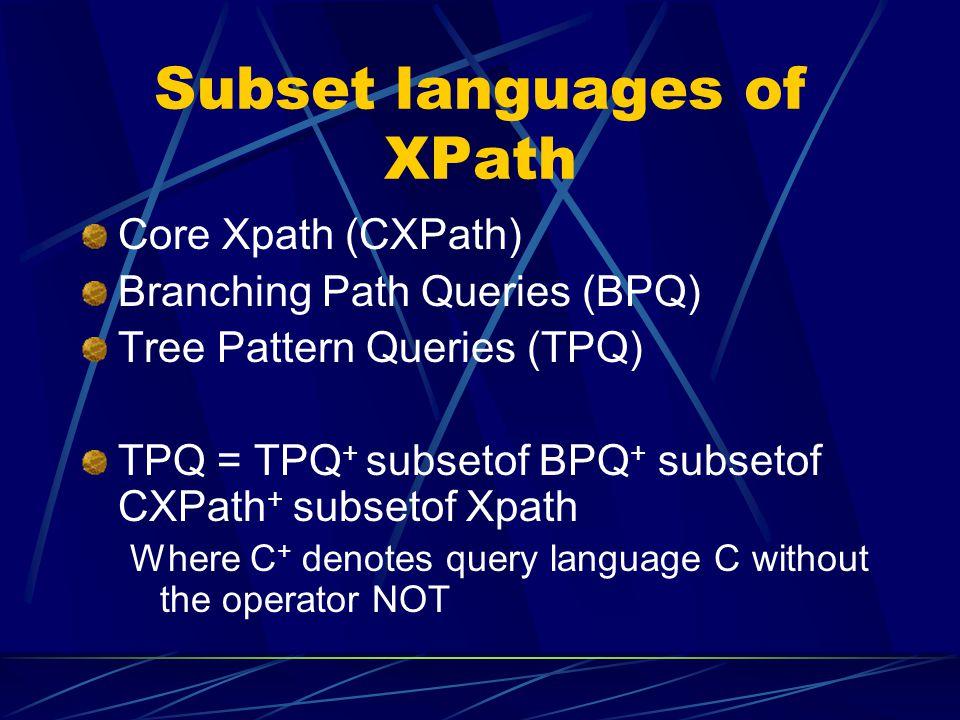 Subset languages of XPath