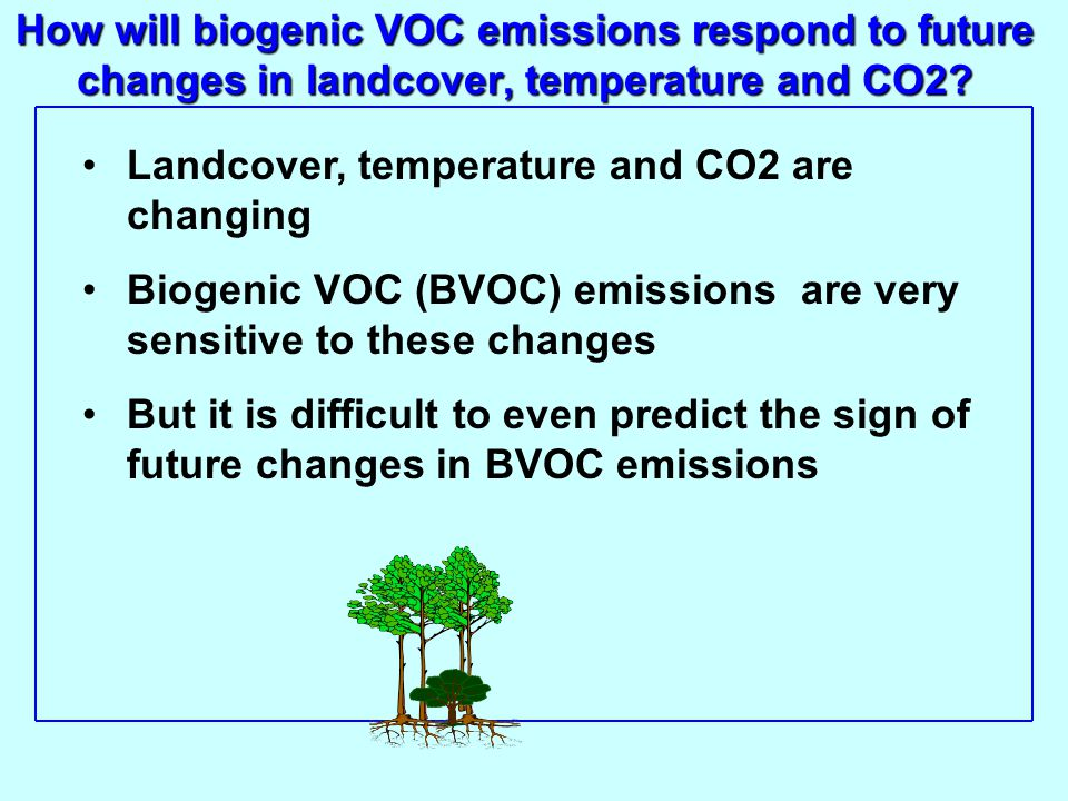 How will biogenic VOC emissions respond to future changes in landcover, temperature and CO2