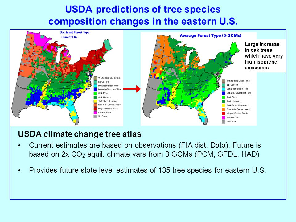 USDA predictions of tree species composition changes in the eastern U