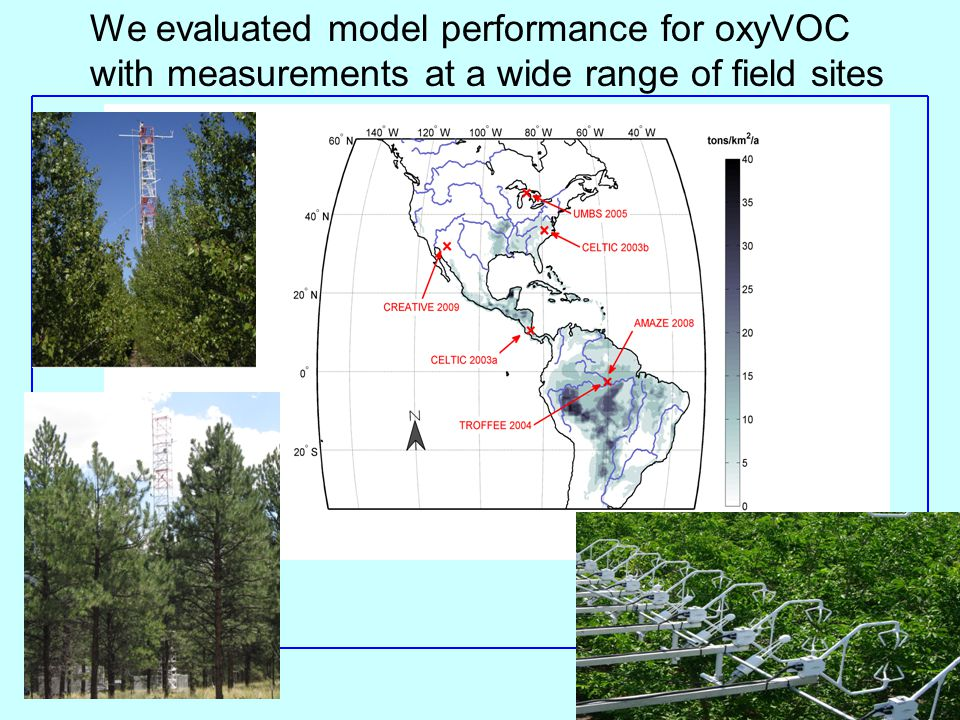 We evaluated model performance for oxyVOC with measurements at a wide range of field sites
