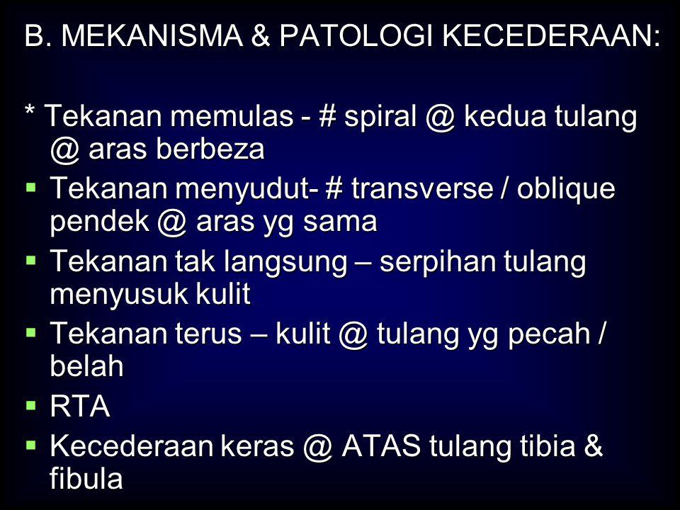 B. MEKANISMA & PATOLOGI KECEDERAAN:
