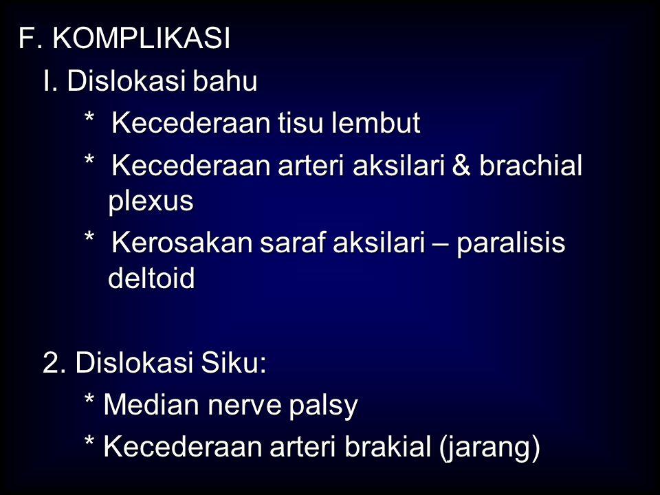 F. KOMPLIKASI I. Dislokasi bahu. * Kecederaan tisu lembut. * Kecederaan arteri aksilari & brachial plexus.