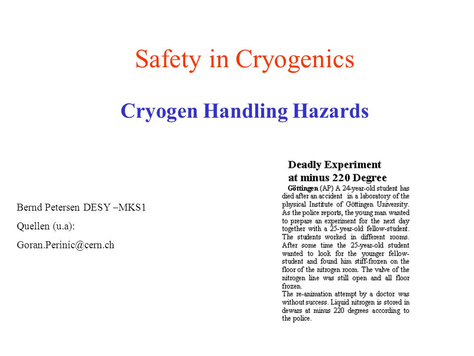 Cryogen Handling Hazards