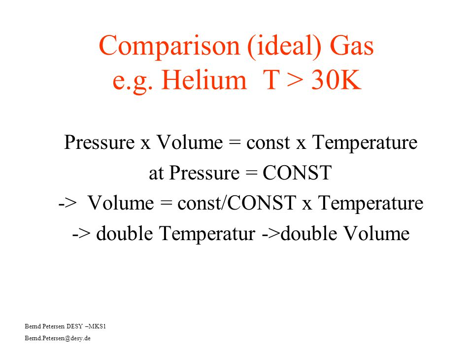 Comparison (ideal) Gas e.g. Helium T > 30K