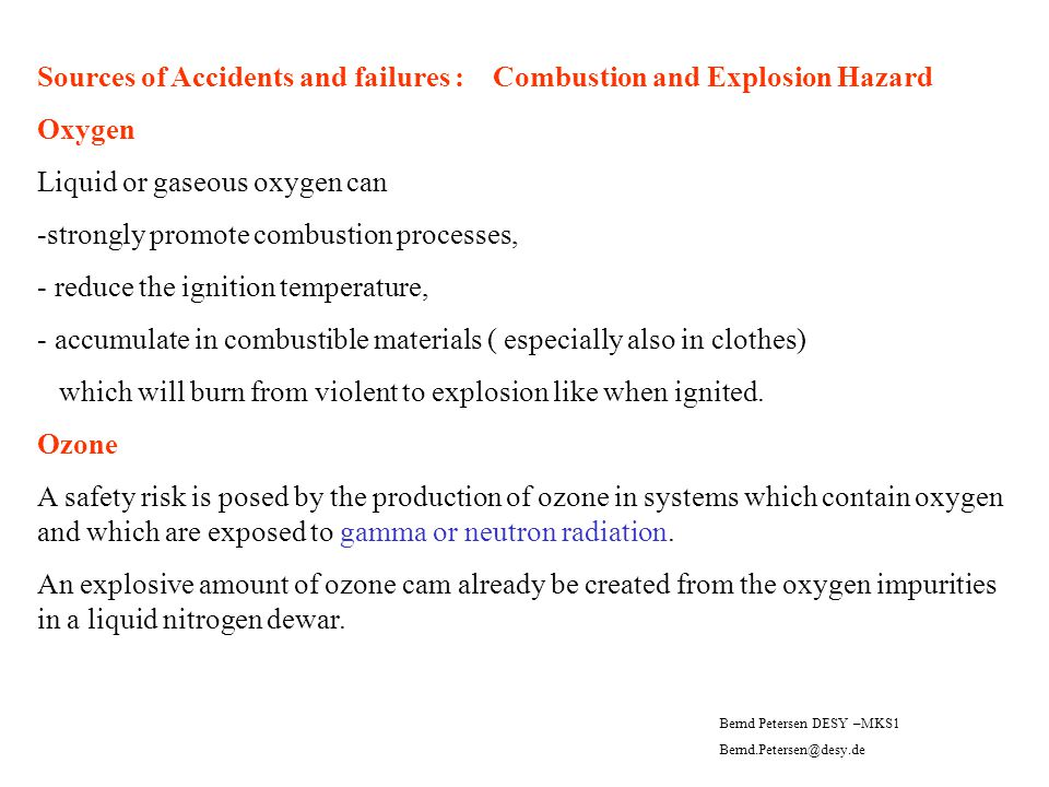 Sources of Accidents and failures : Combustion and Explosion Hazard