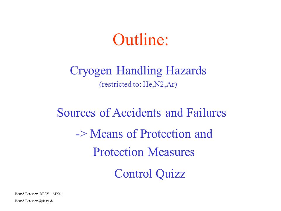 Cryogen Handling Hazards (restricted to: He,N2,Ar)