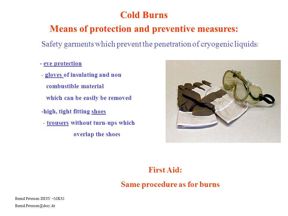 Means of protection and preventive measures: