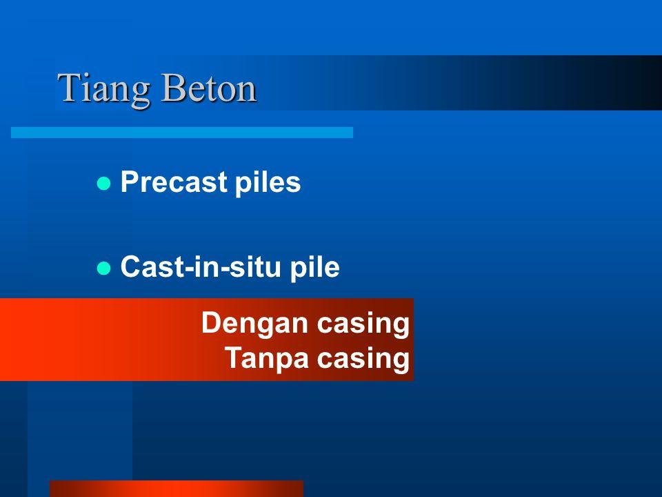Tiang Beton Precast piles Cast-in-situ pile Dengan casing Tanpa casing