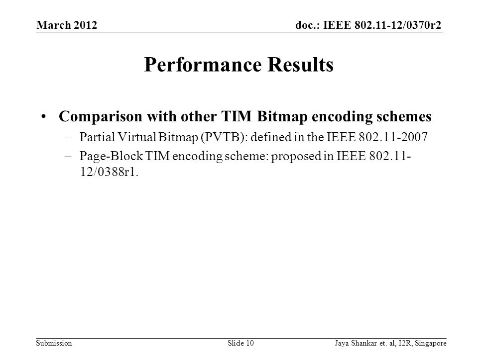 Performance Results Comparison with other TIM Bitmap encoding schemes