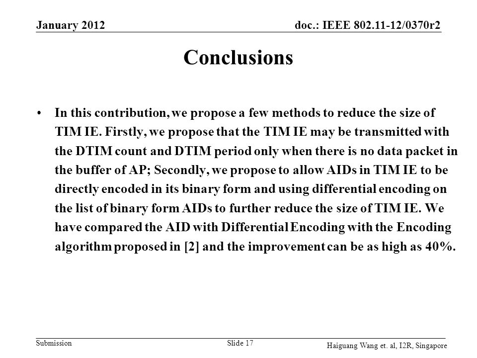 January 2012 Conclusions.