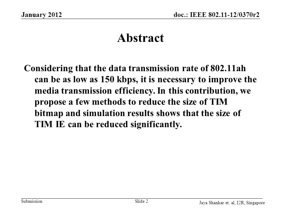 Month Year doc.: IEEE 802.11-yy/xxxxr0. January 2012. Abstract.