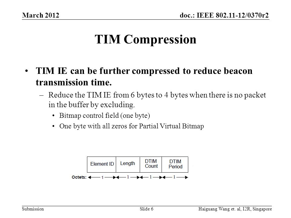 March 2012 TIM Compression. TIM IE can be further compressed to reduce beacon transmission time.