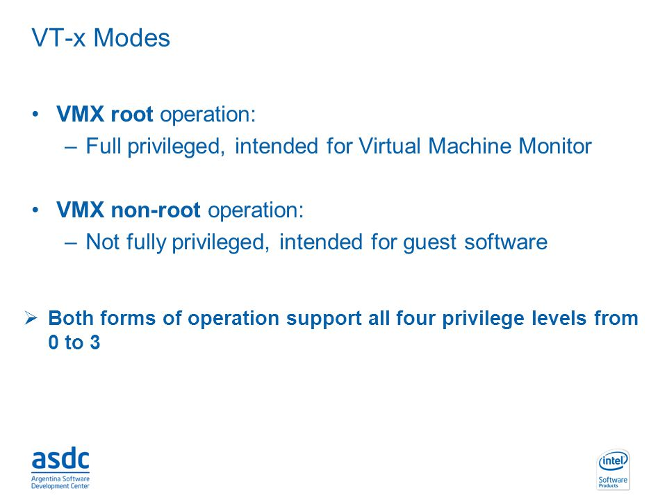 VT-x Modes VMX root operation: