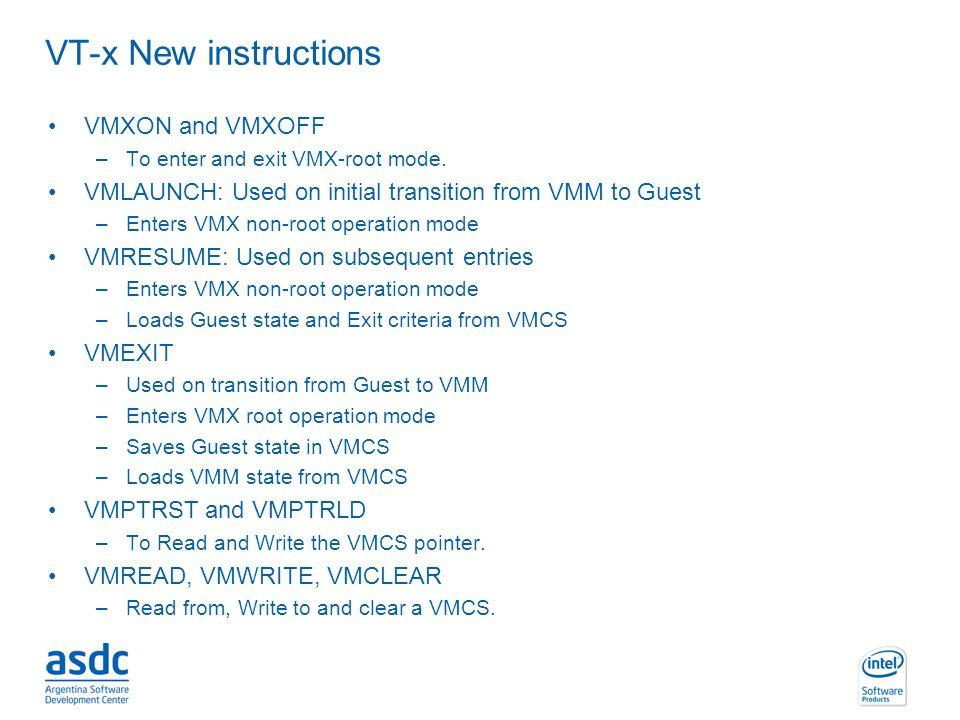 VT-x New instructions VMXON and VMXOFF