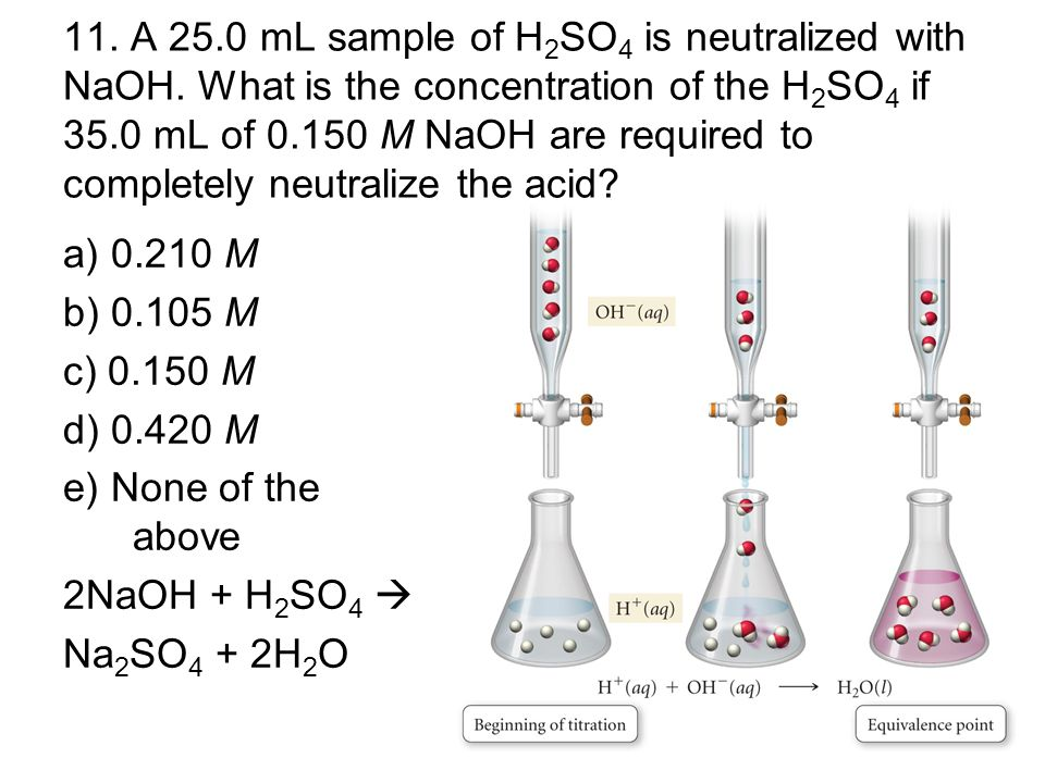 11. A 25. 0 mL sample of H2SO4 is neutralized with NaOH
