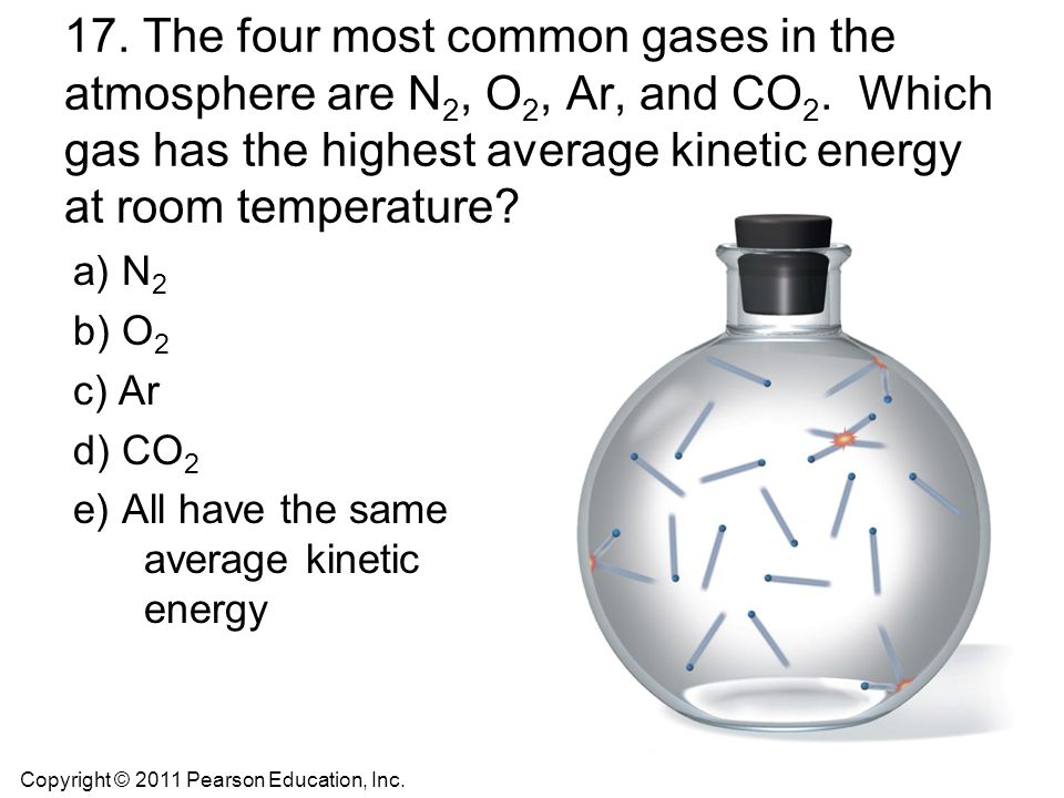 17. The four most common gases in the atmosphere are N2, O2, Ar, and CO2. Which gas has the highest average kinetic energy at room temperature
