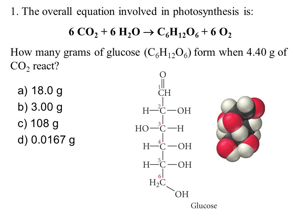 1. The overall equation involved in photosynthesis is: