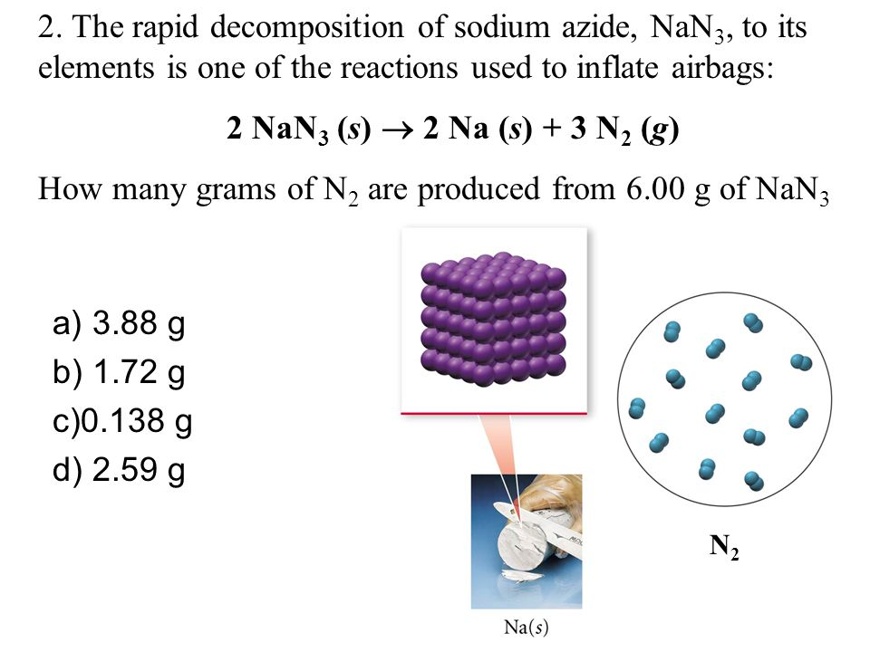 How many grams of N2 are produced from 6.00 g of NaN3