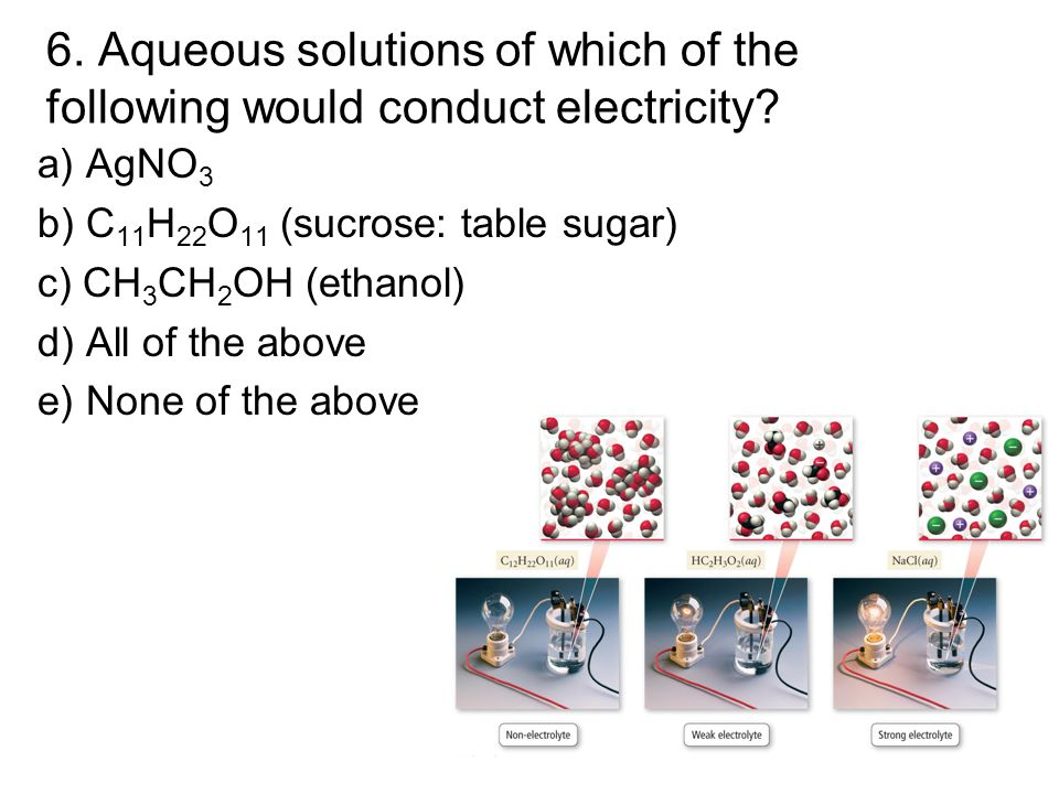 6. Aqueous solutions of which of the following would conduct electricity