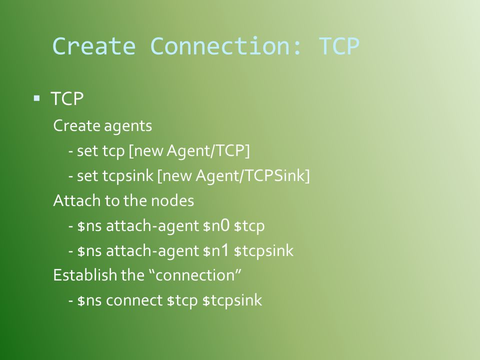 Create Connection: TCP