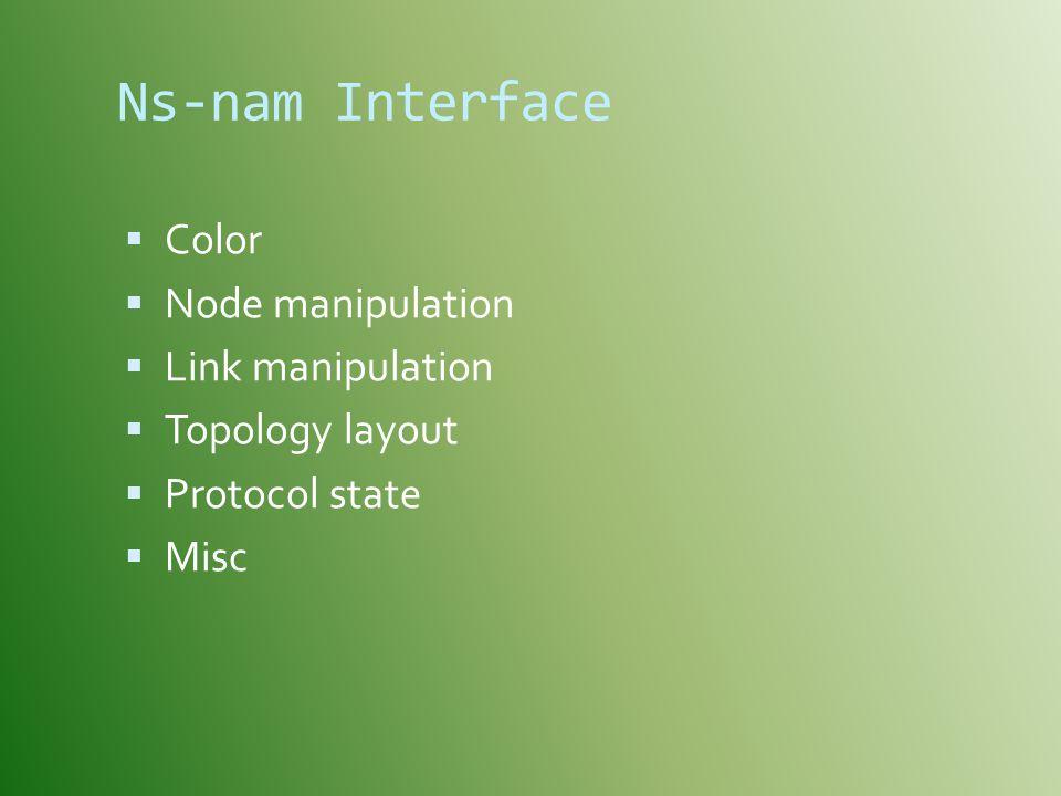 Ns-nam Interface Color Node manipulation Link manipulation