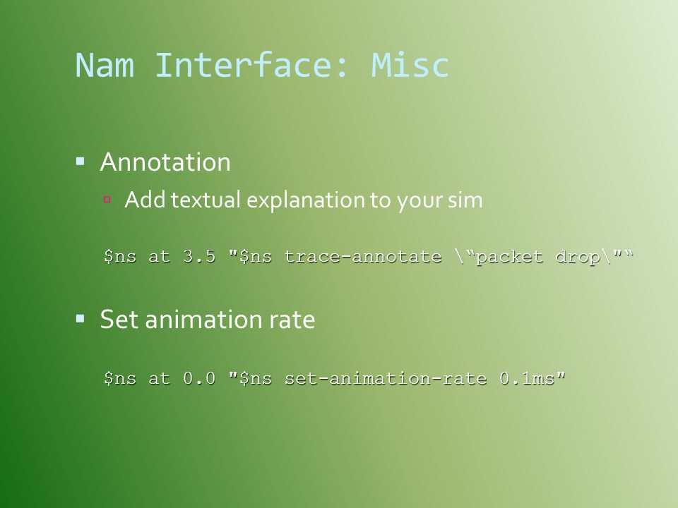 Nam Interface: Misc Annotation Set animation rate