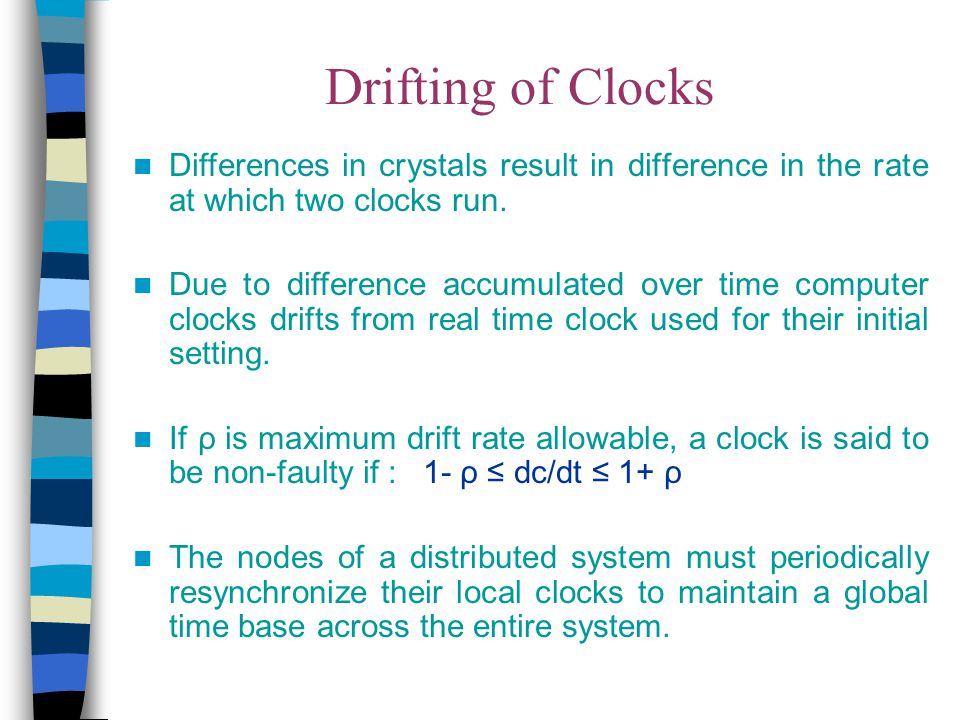 Drifting of Clocks Differences in crystals result in difference in the rate at which two clocks run.