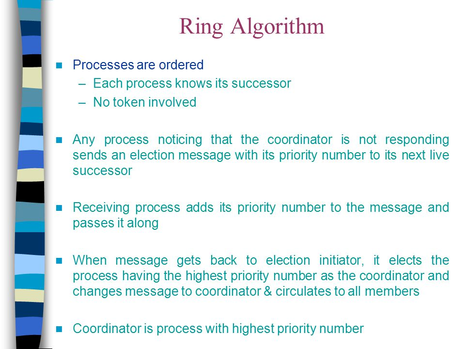 Ring Algorithm Processes are ordered Each process knows its successor