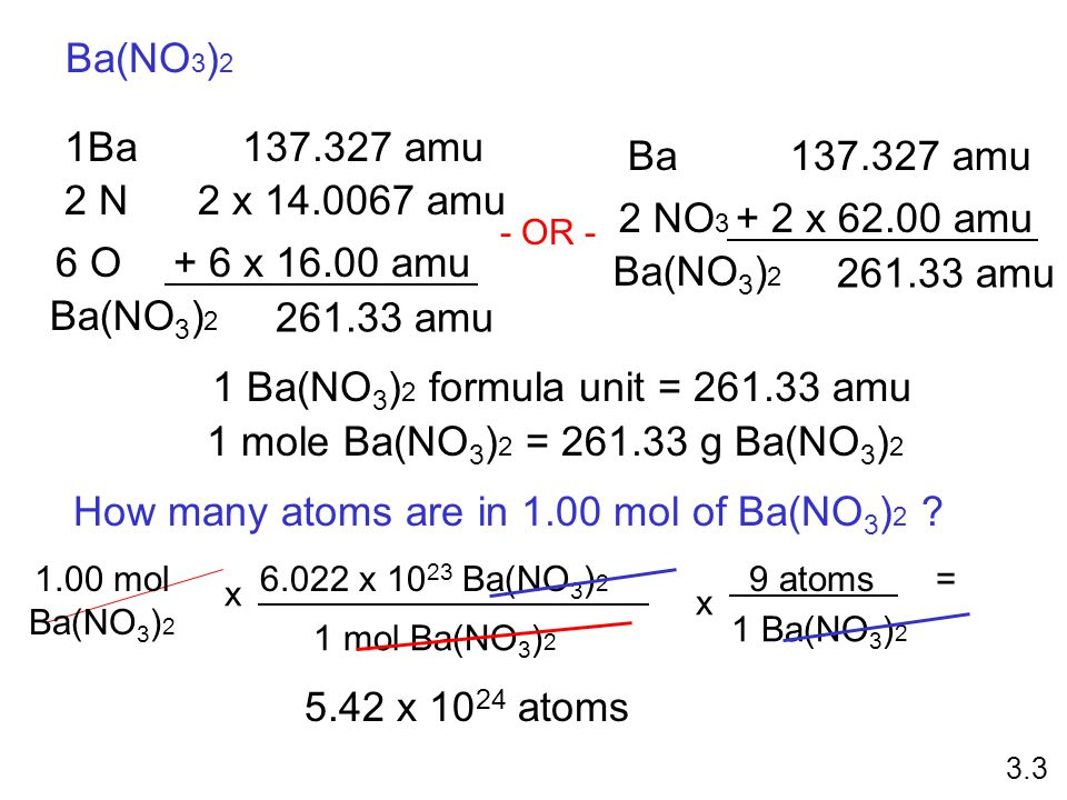 1 Ba(NO3)2 formula unit = 261.33 amu