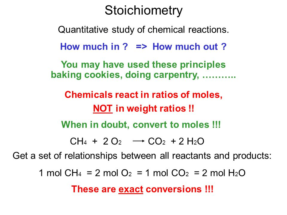 Stoichiometry Quantitative study of chemical reactions.