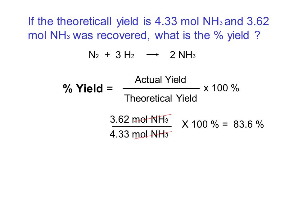 If the theoreticall yield is 4. 33 mol NH3 and 3