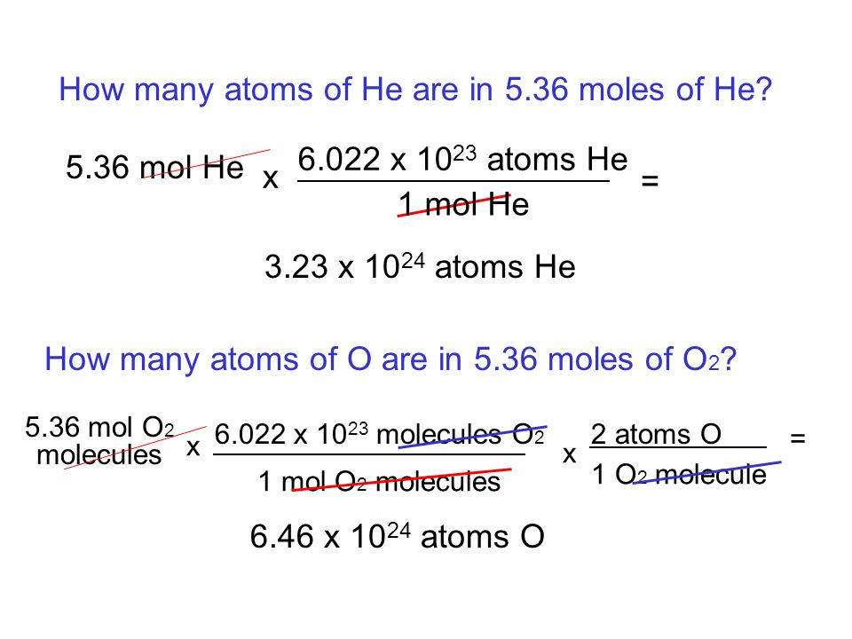 How many atoms of He are in 5.36 moles of He