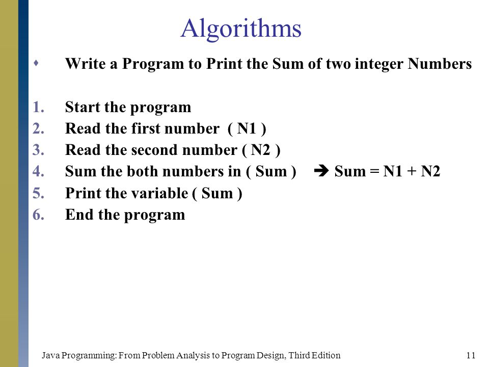 Algorithms Write a Program to Print the Sum of two integer Numbers