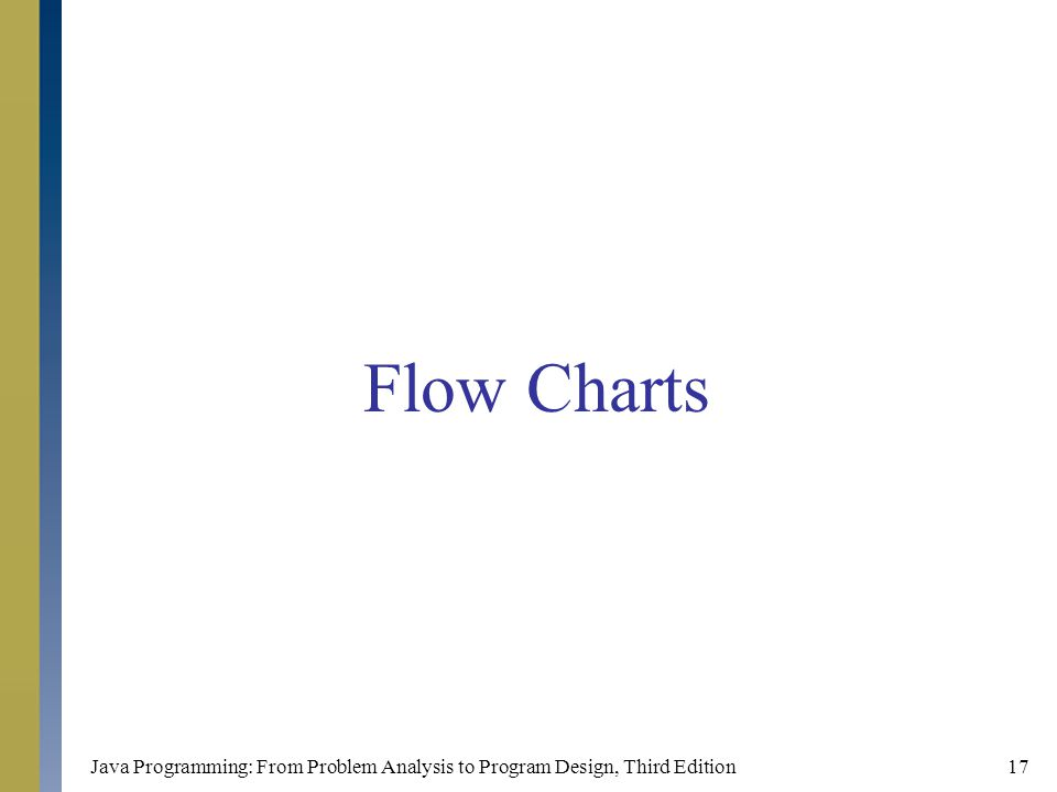Flow Charts Java Programming: From Problem Analysis to Program Design, Third Edition