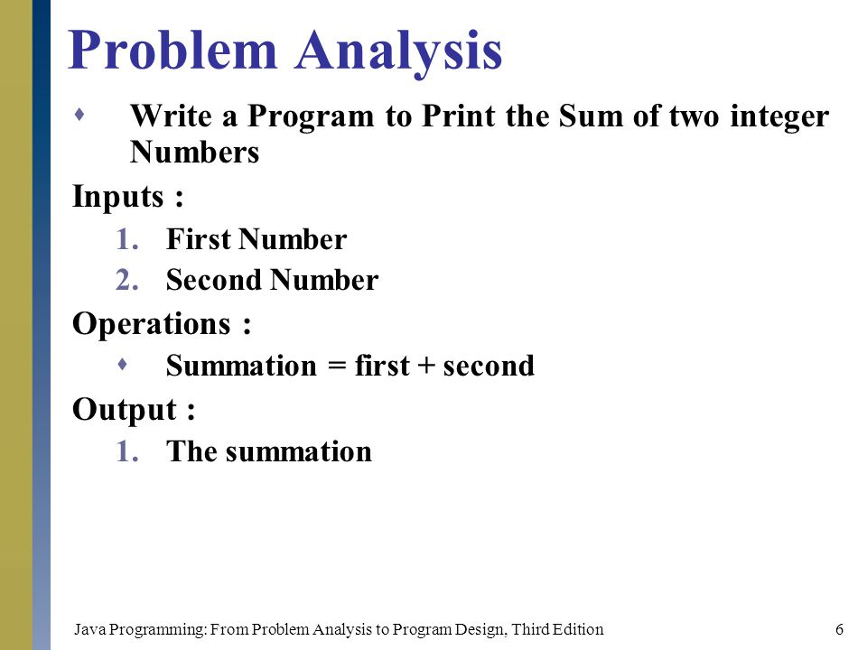 Problem Analysis Write a Program to Print the Sum of two integer Numbers. Inputs : First Number. Second Number.