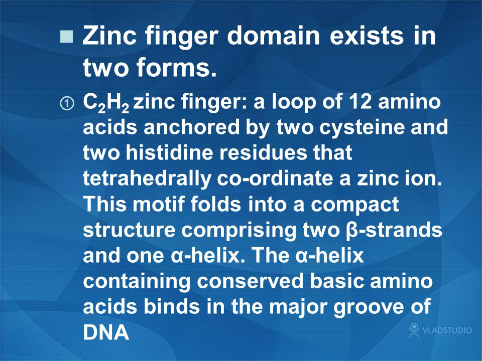 Zinc finger domain exists in two forms.