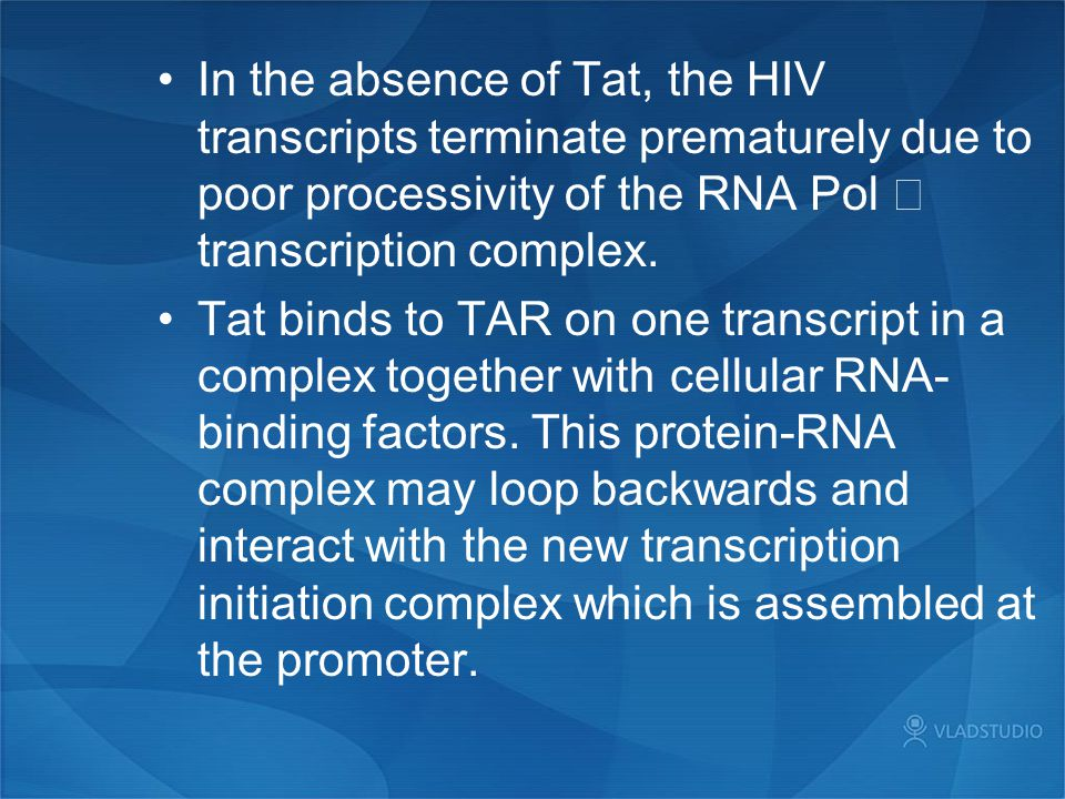 In the absence of Tat, the HIV transcripts terminate prematurely due to poor processivity of the RNA Pol Ⅱ transcription complex.