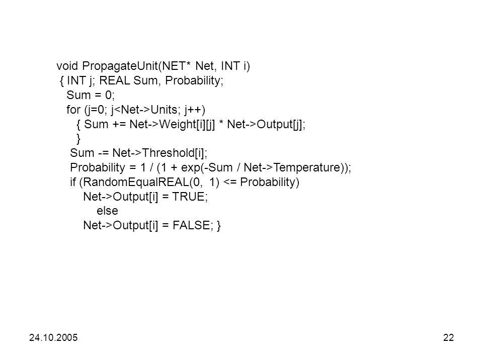 void PropagateUnit(NET* Net, INT i) { INT j; REAL Sum, Probability;
