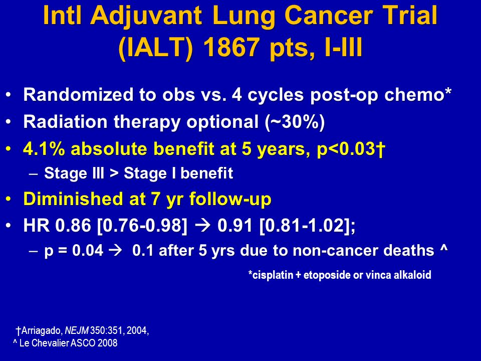 Intl Adjuvant Lung Cancer Trial (IALT) 1867 pts, I-III