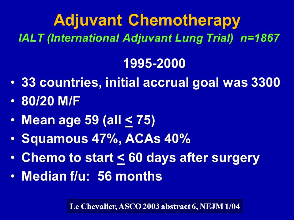 Adjuvant Chemotherapy IALT (International Adjuvant Lung Trial) n=1867