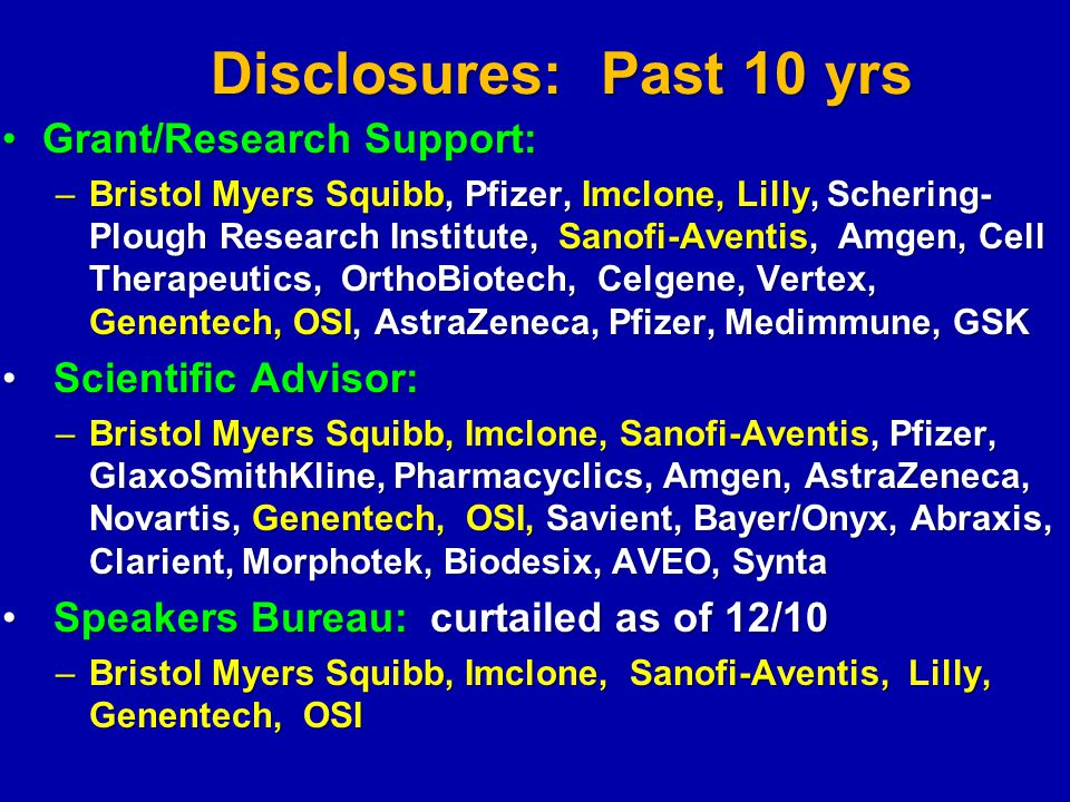 Disclosures: Past 10 yrs Grant/Research Support: Scientific Advisor: