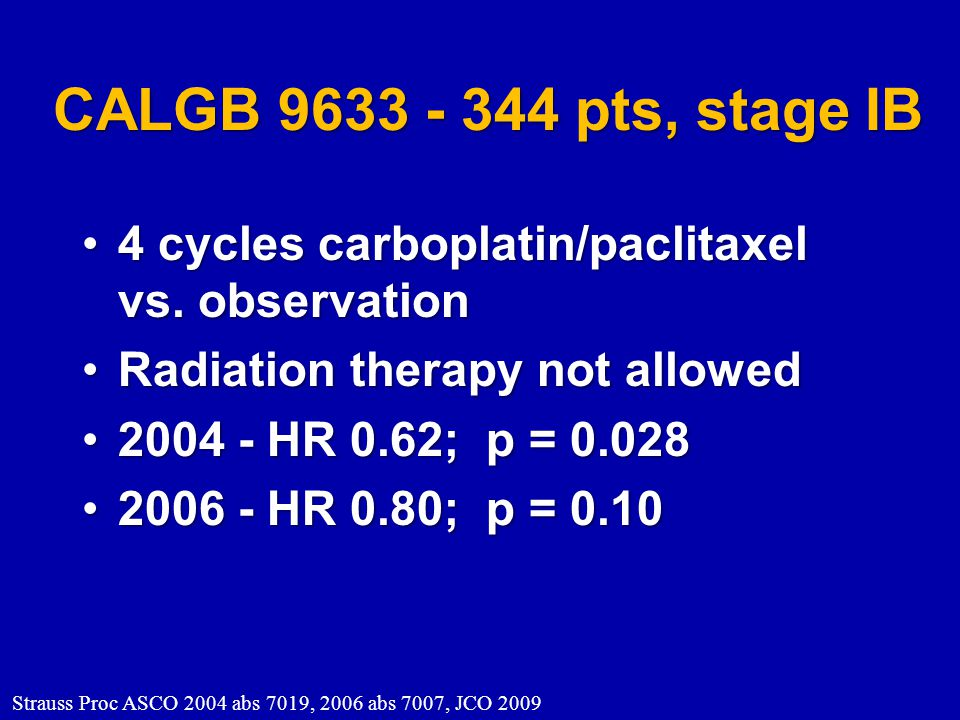 CALGB 9633 - 344 pts, stage IB 4 cycles carboplatin/paclitaxel vs. observation. Radiation therapy not allowed.