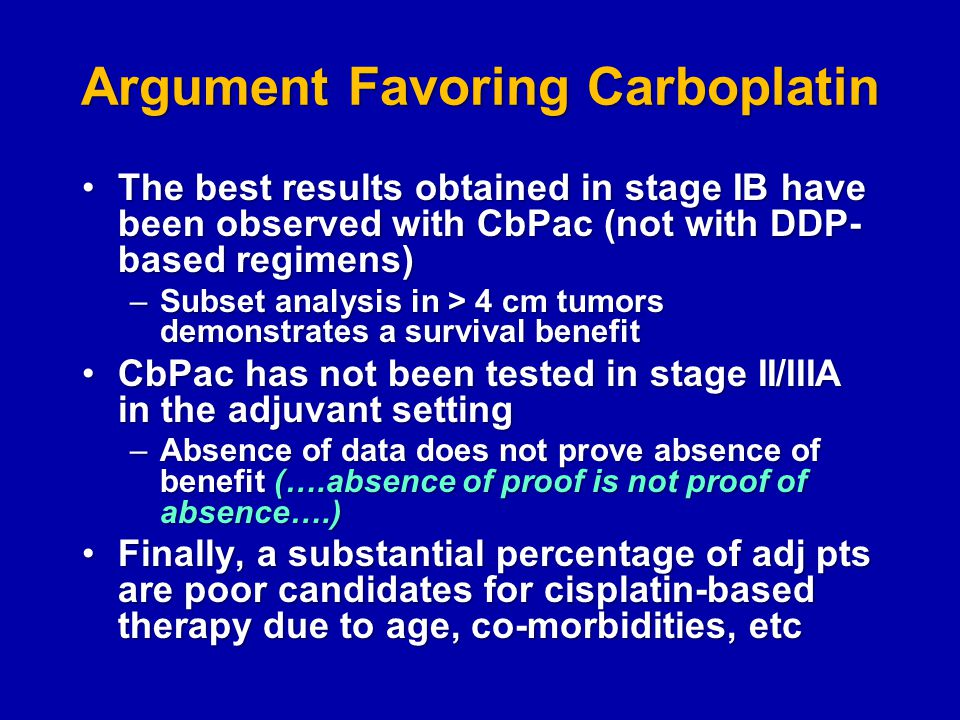 Argument Favoring Carboplatin