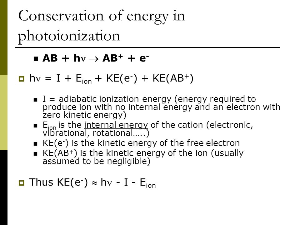 Conservation of energy in photoionization