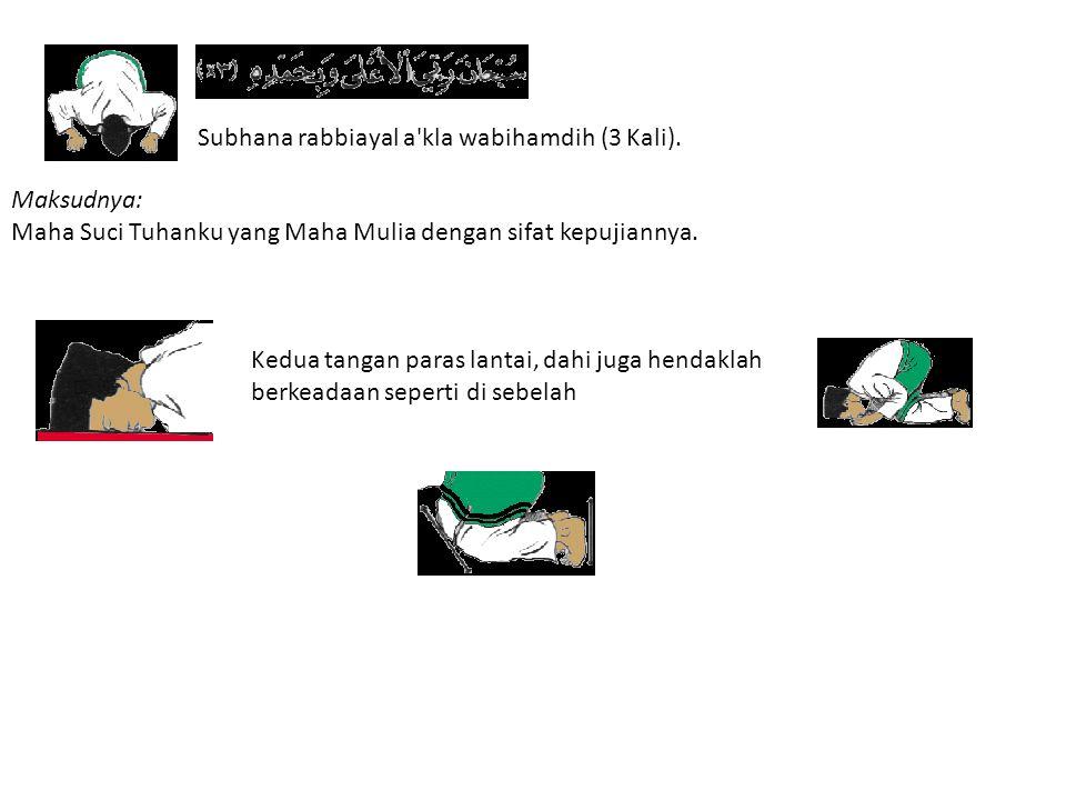 Subhana rabbiayal a kla wabihamdih (3 Kali).