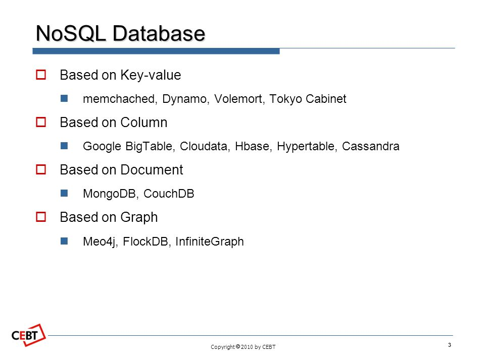 NoSQL Database Based on Key-value Based on Column Based on Document