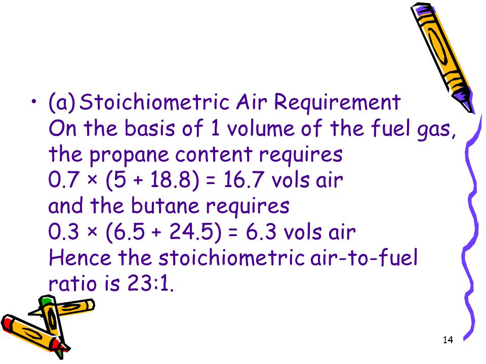 (a) Stoichiometric Air Requirement On the basis of 1 volume of the fuel gas, the propane content requires 0.7 × (5 + 18.8) = 16.7 vols air and the butane requires 0.3 × (6.5 + 24.5) = 6.3 vols air Hence the stoichiometric air-to-fuel ratio is 23:1.
