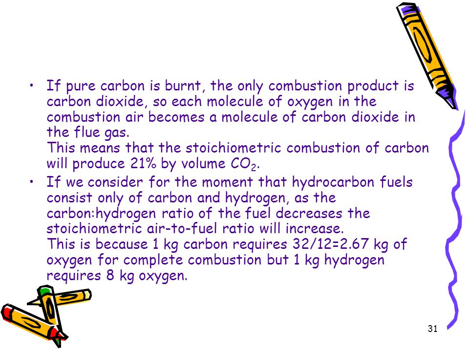 If pure carbon is burnt, the only combustion product is carbon dioxide, so each molecule of oxygen in the combustion air becomes a molecule of carbon dioxide in the flue gas. This means that the stoichiometric combustion of carbon will produce 21% by volume CO2.
